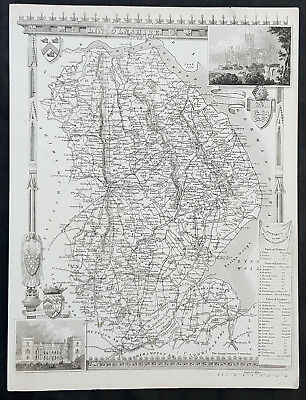 1836 Thomas Moule Original Antique Map of The English County of Lincoln