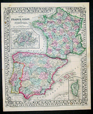 1867 S Augustus Mitchell Antique Map of France, Spain, Portugal & Switzerland