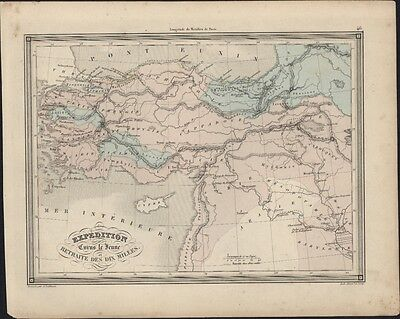 1847 Vuillemin Antique Map of Turkey & The Holy Land - Expedition of Cyrus
