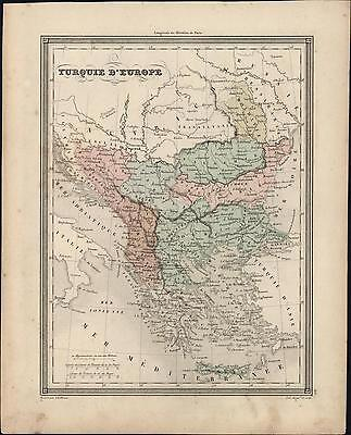 1847 Vuillemin Antique Map The Turkish Empire in Europe from Greece to Austria