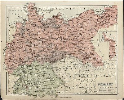 1875 Chambers Antique Map of Germany - Holland to Poland to Switzerland