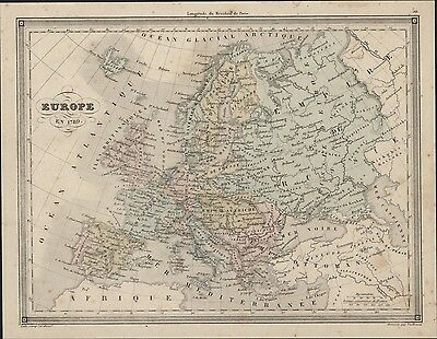 1847 Vuillemin Antique Map of Europe in 1789