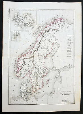 1845 Louis Dussieux Original Antique Map of Swden, Norway, Denmark & Iceland