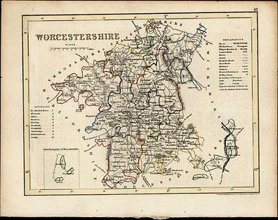 1846 Archer & Dugdale Antique Map of the English County of Worcester