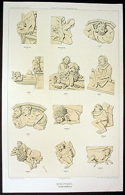 1848 Sharpe Large Antique Print of Stone Carved Figures