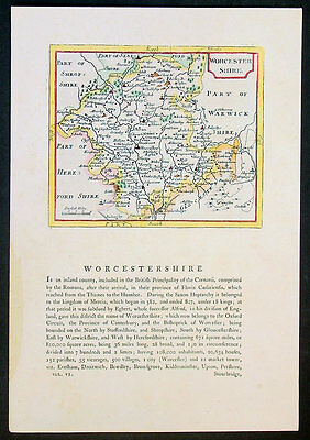 1787 Seller Grose Antique Map English County Worcester