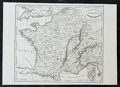 1799 Jean Nicolas Buache Original Antique Map of France