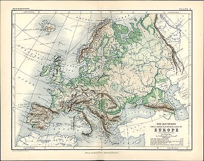 1873 Johnston Antique Physical Map of Europe - Mountains, Valleys, Plains