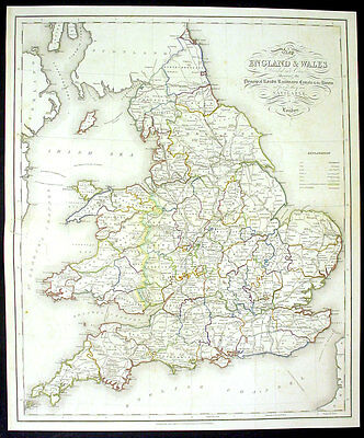 1831 Lewis Large Antique Map Canals Railways of England
