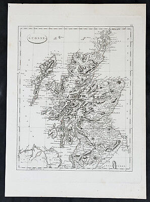 1799 Jean Nicolas Buache Original Antique Map of Scotland