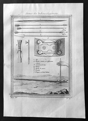 1755 Prevost Antique Print Weapons of Guyana Indians - Bow & Arrows, Axe, Shield