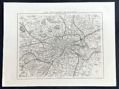 1836 Moule Original Antique Map of London and Surrounding Area