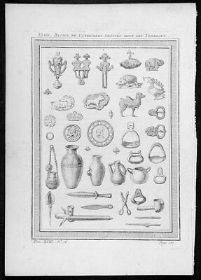 1755 Prevost Antique Print Artifacts of Tombs East Tartary Primorsky Krai Russia