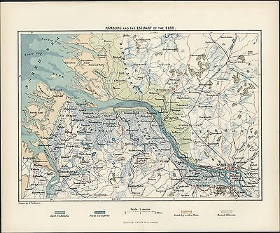 1860 Virtue Antique Map of Hamburg and the Estuary of the Elbe, Germany