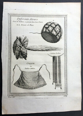 1755 Prevost Antique Print Clothes Hats, Belts, Apron of North American Indians