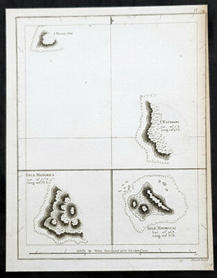 1785 Capt. Cook Antique Map 3 x Cook Islands & 1 x Society Island - Cook in 1777