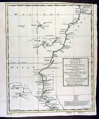 1750 Kitchin Antique Map of North & Western Africa to Gibraltar Canary & Cape Is