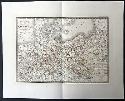 1834 Brue Very Large Antique Map of Prussia - Poland To Germany