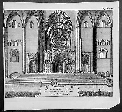1707 Beverell Antique Print Original St Pauls Cathedral