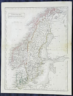 1830 Sydney Hall Antique Map of Denmark, Sweden & Norway, Scandinavia