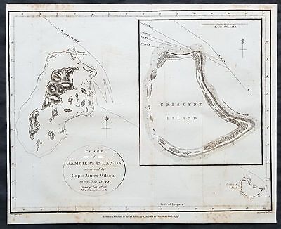 1799 James Wilson Antique Map of The Mangareva or Gambier Islands, South Pacific