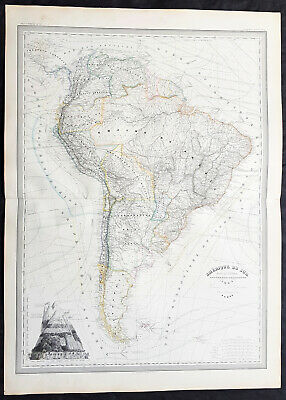 1857 A H Dufour Very Large Antique Map of South America - Beautiful