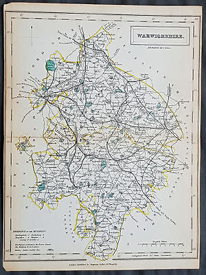 1833 Sydney Hall Antique Map of of the English County of Warwickshire