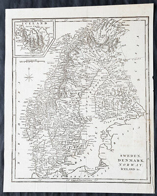 1798 Aaron Arrowsmith Antique Map of Sweden, Denmark, Norway & Iceland