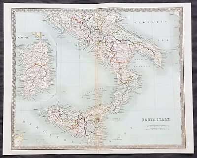 1834 Henry Teesdale Antique Map of Southern Italy, Sicily & Sardinia, 2 Sicilies