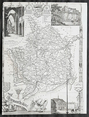 1836 Thomas Moule Antique Map of The English County of Monmouth