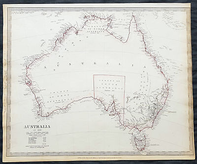1840 SDUK Antique Map of Australia in 1839 with Population census, Colony of SA