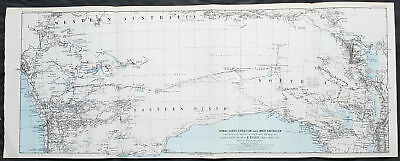 1876 Petermann Antique Map Expedition Ernest Giles Western & Sth Australia, 1875