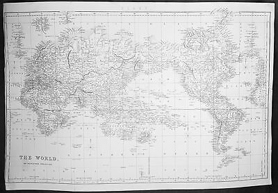 19th century ca 1880s Large Antique World Map on Mercators Projection