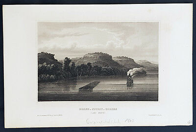 1855 Herrmann Meyer Antique Print View of a Steam Boat on Lake Pepin, Minnesota