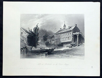 1842 William Bartlett Antique Print of Hyatts Mills, Sherbrooke, Quebec Canada