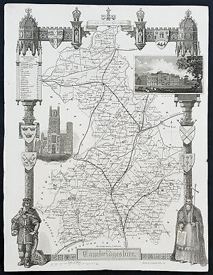 1836 Thomas Moule Antique Map of Cambridge, England - Views Ely Cath. & Wimpole