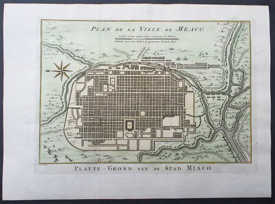 1757 Prevost & Schley Antique Map City of Koyto or Meaco Japan Old Imperial City