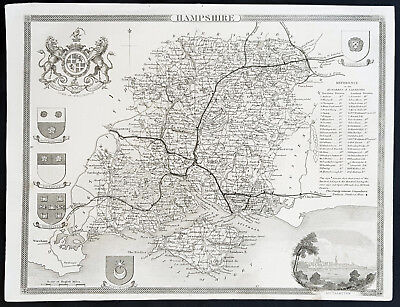 1836 Thomas Moule Antique Map of Hampshire, England - inset view of Southhampton