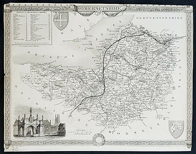 1836 Thomas Moule Antique Map of Somerset England, Glastonbury Cross - 11-2064