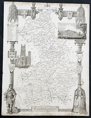 1836 Thomas Moule Antique Map of Cambridge, England - inset view Wimpole Estate
