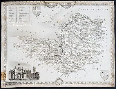 1836 Thomas Moule Antique Map of Somerset England, Glastonbury Cross - 11-2114-1