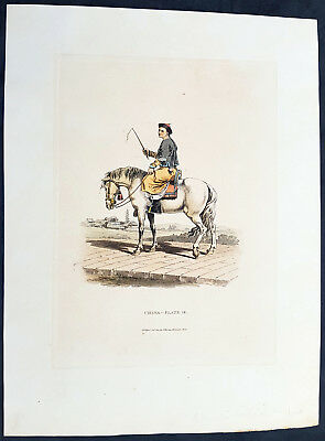 1814 William Alexander Antique Print of Chinese Mandarin Servant on Horseback