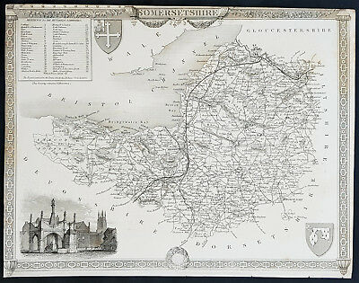 1836 Thomas Moule Antique Map of Somerset England, Glastonbury Cross - 11-2104-1