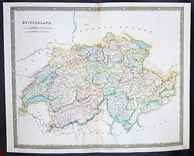 1834 Henry Teesdale Large Antique Map Switzerland divided in Cantons - Beautiful
