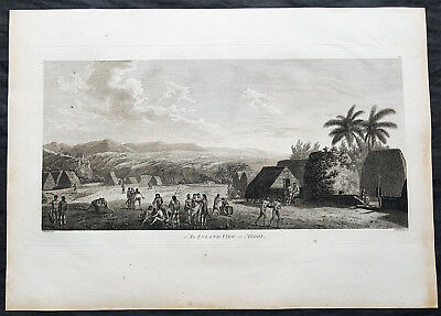 1784 Cook & Webber Large Antique Print of a Village on Kauai Island, Hawaii