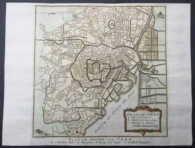 1757 Prevost & Schley Antique Map - Plan The City of Tokyo or Edo, Yeddo, Japan