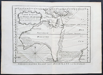 1753 Jacques Nicolas Bellin Antique Map of Australia & New Zealand, Pre Cpt Cook