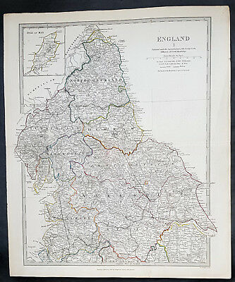 1831 SDUK Large Antique Map of Northern England from Northumberland to Derby