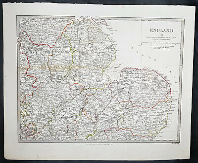 1830 SDUK Large Antique Map of Central West England - Warwickshire to Norfolk