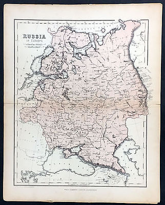 1860 W R Chambers Antique Map of Russia, Baltic States, Finland, Poland, Ukraine
